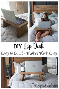 DIY Lap Desk - Quick and easy build to help you get work done from bed! Perfect scrap wood project as it doesn't even require one whole board! Build it in a matter of minutes! Excellent gift idea for Christmas, Birthdays or Mother's Day or Father's Day!