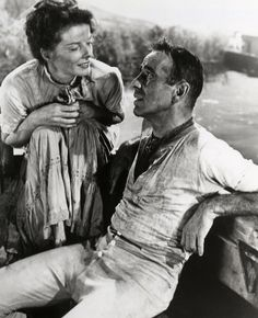 Humphrey Bogart & Katharine Hepburn in The African Queen (1951)-Rose Sayer: [after travelling through the rapids] Now that I've had a taste of it I don't wonder why you love boating.