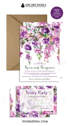 Purple floral wedding invitations with a bohemian rustic watercolor painted flower pattern in a plum lilac and green.  Choose from ready made printed cards or printable wedding invitations for a DIY option.  Kraft envelopes and matching envelope liners also available, at digibuddha.com