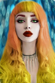 makeup fashion hair face style colors vamp1967 carolyn foster photo edit face hair eyes girl woman goth yellow orange