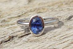 Unique Engagement Ring 1.26ct Natural Blue Sapphire Unheated 14k White Gold Bezel Set Modern Handmade OOAK by DiamondAddiction on Etsy