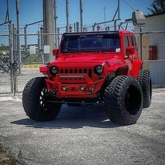 Save by Hermie Red Jeep Wrangler, Jeep Rubicon, Jeep 4x4, Jeep Wrangler Unlimited, Jeep Pickup, Jeep Brute, Jeep Rims, Badass Jeep, Custom Jeep