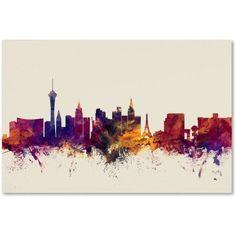Trademark Fine Art Las Vegas Nevada Skyline Canvas Art by Michael Tompsett, Size: 12 x 19, Red