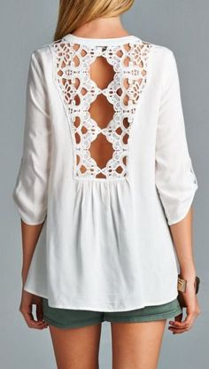 white lace open back tunic