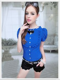 Morpheus Boutique  - Blue Vintage Style Ruffle Cap Sleeve Chiffon Bow Shirt, CA$61.53 (http://www.morpheusboutique.com/blue-vintage-style-ruffle-cap-sleeve-chiffon-bow-shirt/)