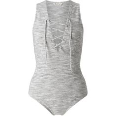 Miss Selfridge Ribbed Lattice Body, Grey ($26) ❤ liked on Polyvore featuring tops, sweaters and miss selfridge