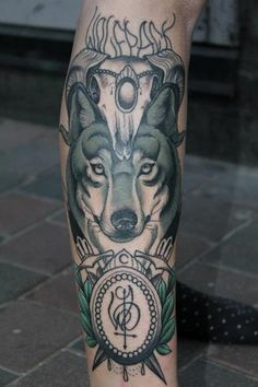 Wolf Tattoo on each thigh, to represent geri and freki