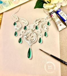 The frist new high-jewelry piece is coming ... ❤️ #yingzhangdesign #jewelrydesigner #jewellerydesign #highjewelry #gouache #jewelryrendering