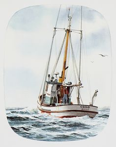 """SALMON TROLLER COHO"" - Watercolor, in Fishing Boat Paintings"