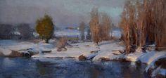 Last Snowy Morning by Albin Veselka Oil ~ 8 x 16