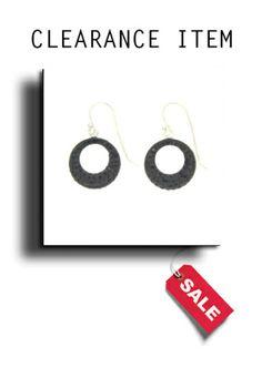 925 Silver Black Crystal Drop Earrings.
