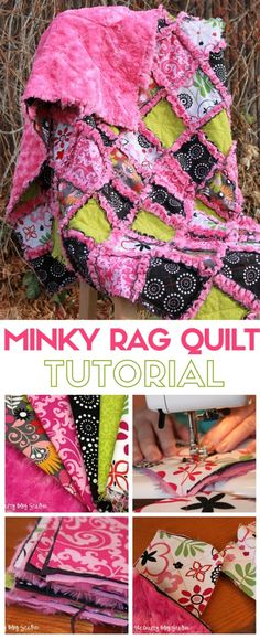 Sew a minky rag quilt either as a lap quilt or a new baby quilt. This super soft quilt is great for the beginning quilter. A simple DIY craft tutorial idea. - Diy for Home Decor Baby Rag Quilts, Lap Quilts, Flannel Rag Quilts, Sewing Crafts, Sewing Projects, Sewing Tips, Sewing Hacks, Fabric Crafts, Sewing Ideas