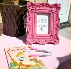 vintage baby shower ideas - pink baby shower - girl. Cute as a designated area for your advice/wishes for baby cards.
