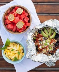 These Mexican Tin Foil Dinners are a fire-roasted burrito bowl: beef, beans, corn, cheddar, avocado, salsa and FIRE...yum!