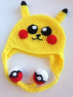 He Sings Over Me: Crochet Pokemon/Pikachu Hat Pattern (Child Size) Crochet Kids Hats, Crochet Scarves, Crochet Crafts, Crochet Projects, Knitted Hats, Bonnet Crochet, Crochet Cap, Crochet Beanie, Free Crochet