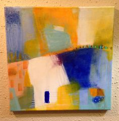 JOURNEY Abstract Painting Original Contemporary 12x12 Canvas Wrapped Blue yellow white art on Etsy, $45.00