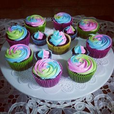 Chocolate cupcakes with multicolor swirl