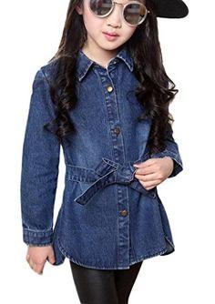 Bigood Girl Vintage Blue Number Print Long Jeans Coat Dress Asia 130 ** Visit the image link more details.