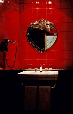 Heart mirror and red tiles for bathroom. Heart Mirror, Mirror Mirror, Mirror Ideas, Red Tiles, Bathroom Red, Vanity Bathroom, Bathroom Wall, Red Rooms, Paris Hotels