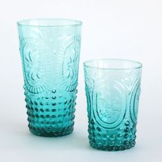Vintage Drinking Glasses in Turquoise, available in 2 sizes! http://colomandbrit.com/Kitchen/Vintage-Drinking-Glasses-in-Turquoise