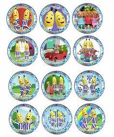 24 x Bananas in Pyjamas Edible *Icing* Cupcake Toppers (Pre Cut)