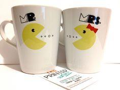 "Latte mug couple set of 2 mugs- ""Mr. Pacman and Mrs. Pacman"" mug set perfect couple gift wedding gift, housewarming Gift yellow red black"