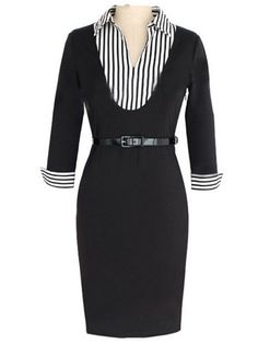 Delightful Band Collar Blended Striped Bodycon-dress Bodycon Dress from fashionmia.com
