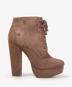 "Faux Suede platform booties in taupe and black// 5.5""  forever21.com"
