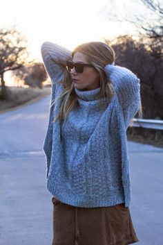 chunky sweater + suede skirt // Devon Rachel