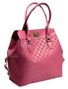 Moderno rosa vermelha não especificado sacola xadrez PU couro feminino - Milanoo.com