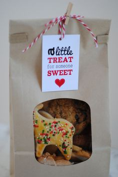 "Love the tag,""A little treat for someone sweet"" but you could hand write them and tape then to a sandwhich bag with a cookie in it, or use ribbon to tie them up. Printable Sweet Treat Valentine's Gift Tags by KatarinasPaperie"