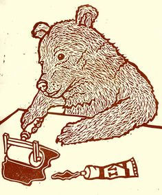 Bear Art Three Bears and Goldilocks Printing by ThreeBearsPrints