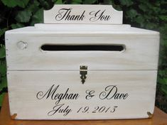 Large Rustic Card Box Keepsake Country Shabby Chic Style Wedding card holder. Personalized with Bride and Groom names and date. Includes removeable Thank You sign