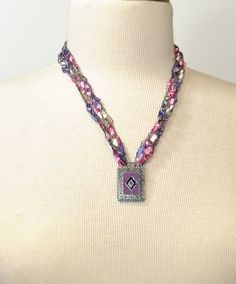 Crocheted Ladder Yarn Necklace. Hand Crocheted Necklace. Trellis, Ribbon Yarn Necklace. Purple, Pink, Cream Ladder Yarn