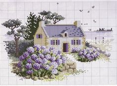 This Pin was discovered by İpe Cross Stitch House, Cross Stitch Charts, Cross Stitch Designs, Cross Stitch Patterns, Cross Stitching, Cross Stitch Embroidery, Embroidery Patterns, Hand Embroidery, Cross Stitch Landscape