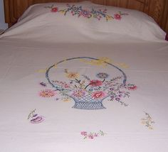 Bed Spread with Embroidery 72 x 100 by KATZnQUILTS on Etsy