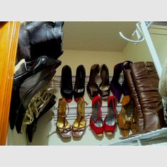 Left over crown molding shoe storage for my little closet