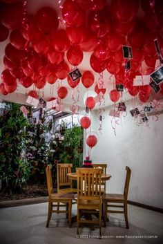 Valentine Home Decor Ideas - red balloons for a Valentine Day Vignette. Valentine Decor.