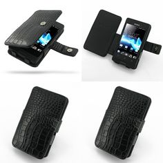 PDair Leather Case for Sony Xperia Go ST27i - Book Type (Black/Crocodile Pattern)