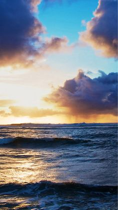 Ocean Beach Surging Wave Cloudy Sunny Skyscape IPhone 6 Plus Wallpaper