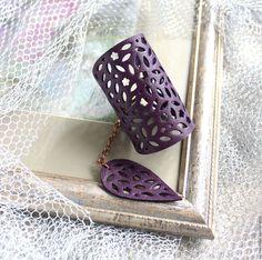 Купить Кожаный браслет Фиолетовый ажур - тёмно-фиолетовый, Елена Кожевникова, кожаный браслет