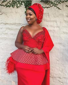 Shweshwe fashion 2019 to looking good - Reny styles African Attire, African Wear, African Fashion Dresses, African Dress, African Style, African Beauty, Peplum Wedding Dress, African Print Wedding Dress, African Traditional Wear
