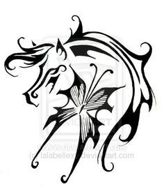 tribal horse tattoo designs | Horse butterfly tattoo design by lalabellexx horse tattoo design, art ...