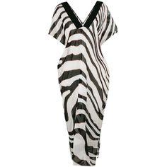 Roberto Cavalli zebra print beach dress (1,605 CAD) ❤ liked on Polyvore featuring dresses, black, beach dresses, long sleeve short dress, silk v neck dress, zebra dresses and long v neck dress