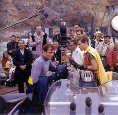 On the set of the 'Batman' TV series, 1960s. - great shot #batman