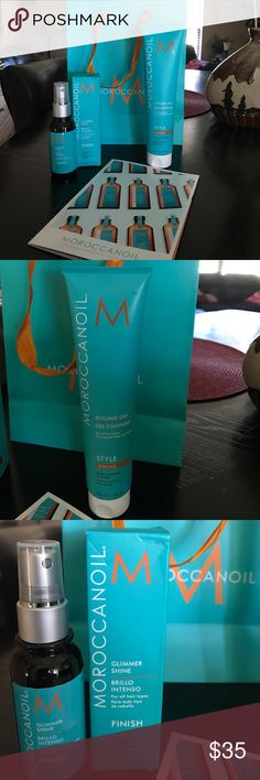 BNWT MOROCCANOIL BUNDLE Moroccan oil, are the best products out right now! I use the whole line, these 2 were extras that I have. They are brand new, and the smell is amazing!!!! 1 is styling gel, and the other is a Glimmer Shine Finish spray, makes your hair so soft and shiny. Love this line!! Moroccanoil Accessories Hair Accessories