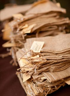 Custom printed burlap favor bags http://meanttobesent.com/collections/custom/