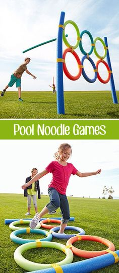 Over 30 of the BEST Backyard Games. These backyard games are great for kids but make for great outdoor games for adults also. Have fun! Noodles Games, Pool Noodle Games, Pool Noodles, Pool Noodle Crafts, Pool Party Games, Toddler Party Games, Outdoor Games For Kids, Outdoor Play, Party Outdoor