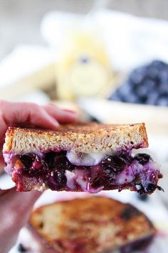 Blueberry, Brie and Lemon Curd Grilled Cheese ~ The BEST grilled cheese I've ever tasted!