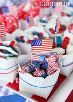 DIY Paper Snack Bowls (super easy tutorial) at Our Best Bites! Love the flag Tootsie Rolls!